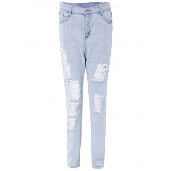 Stylish High-Waisted Ripped Slimming Frayed Women's Ninth Jeans - LIGHT BLUE L