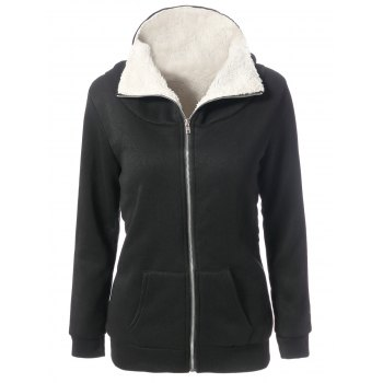 Attractive Fleeced Hooded Long Sleeve Zippered Hoodie Coat For Women