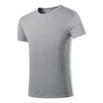 Men's Casual Round Collar Solid Color Short Sleeves T-Shirts - LIGHT GRAY LIGHT GRAY
