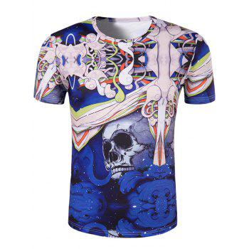 Men's Slimming 3D Skull Printing Collarless Short Sleeves - BLUE L