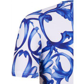 Men's Slimming National Style Printing Collarless Short Sleeves - BLUE/WHITE BLUE/WHITE
