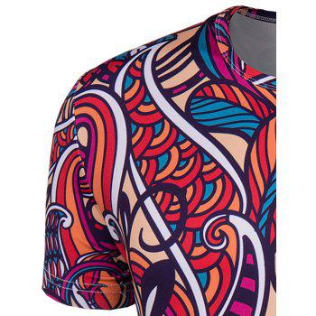 Men's Slimming Collarless National Style Printing Short Sleeves - 2XL 2XL