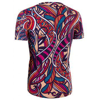 Men's Slimming Collarless National Style Printing Short Sleeves - COLORMIX M