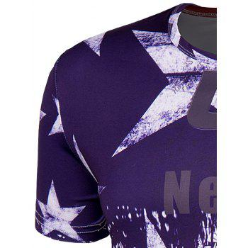 Men's Slimming Collarless Bus Printing Short Sleeves - COLORMIX COLORMIX