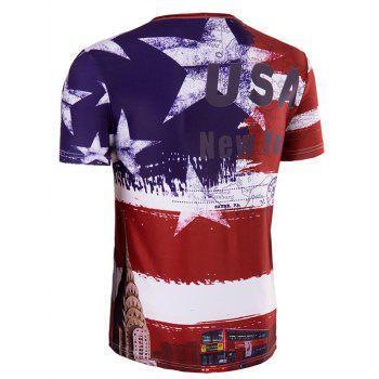 Men's Slimming Collarless Bus Printing Short Sleeves - L L