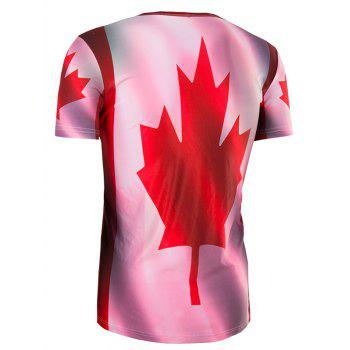 Men's Slimming Collarless Maple Leaf Printing Short Sleeves - 2XL 2XL