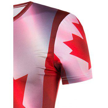 Men's Slimming Collarless Maple Leaf Printing Short Sleeves - COLORMIX COLORMIX