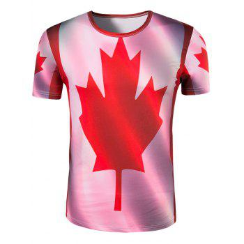 Men's Slimming Collarless Maple Leaf Printing Short Sleeves - COLORMIX XL