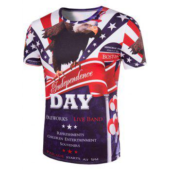 Men's Slimming Letters Printing Collarless Short Sleeves - 2XL 2XL