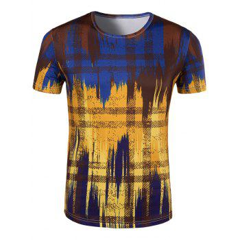Men's Slimming Painting Collarless Short Sleeves