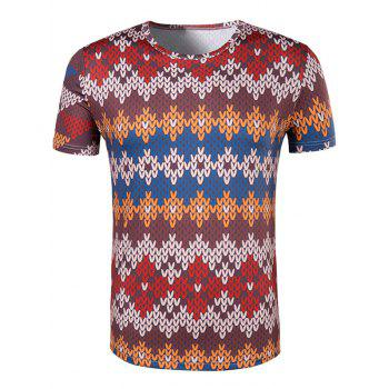 Men's Slimming National Style Printed Collarless Short Sleeves - COLORMIX 2XL
