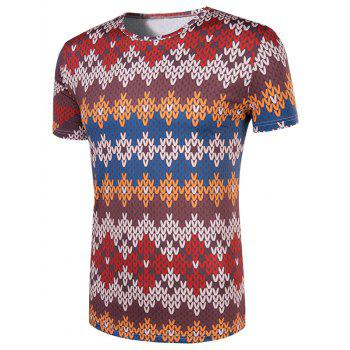 Men's Slimming National Style Printed Collarless Short Sleeves - COLORMIX COLORMIX