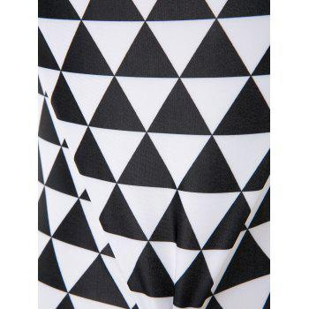 Casual Halter Plus Size Geometric Print One-Piece Women's Swimwear - WHITE/BLACK 2XL