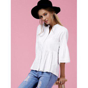 Sweet Flare Sleeve V-Neck Buttoned Women's Blouse - WHITE XL