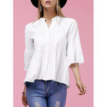 Sweet Flare Sleeve V-Neck Buttoned Women's Blouse