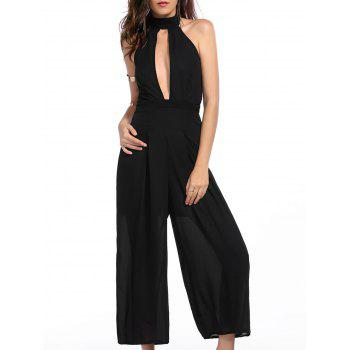 Stylish Turtleneck Sleeveless Black Backless Women's Cropped Jumpsuit