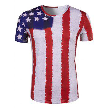 Men's Hot Sale 3D Stripes Printed Round Neck Short Sleeve T-Shirt