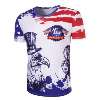 Men's Hot Sale 3D Owl Printed Round Neck Short Sleeve T-Shirt - COLORMIX COLORMIX