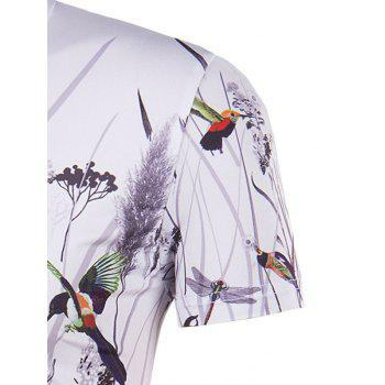 Men's Hot Sale 3D Bird and Flower Printed Round Neck Short Sleeve T-Shirt - XL XL