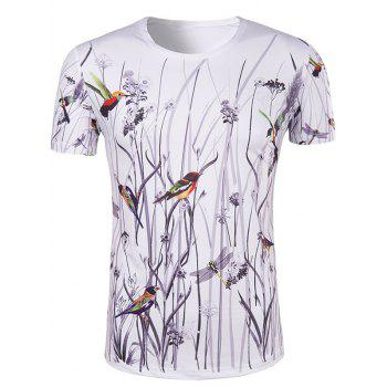 Men's Hot Sale 3D Bird and Flower Printed Round Neck Short Sleeve T-Shirt