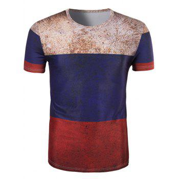 Men's 3D Retro Color Block Round Neck Short Sleeve T-Shirt
