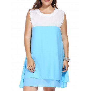 Plus Size Color Block Sleeveless Round Neck Women's Dress