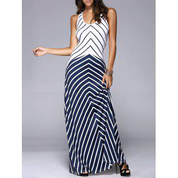 Women's Slimming U-Neck Cut Out Chevron Tank Maxi Dress