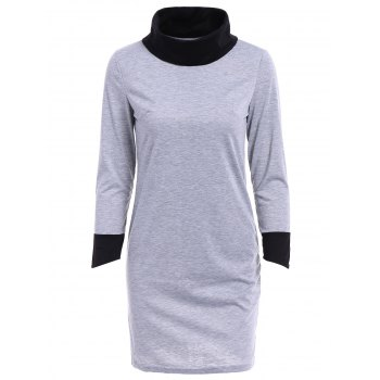 Stylish Cowl Neck Back Spliced Long Sleeve A-Line Mini Dress For Women