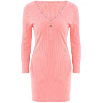 Alluring Women's V-Neck Candy Color Long Sleeve Dress - WATER RED WATER RED