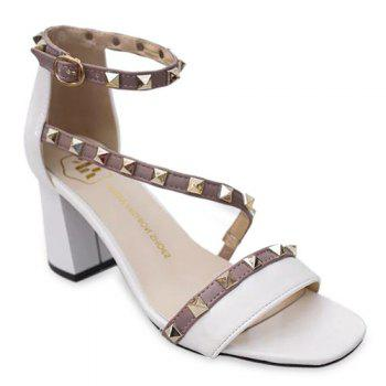 Graceful Square Toe and Rivets Design Women's Sandals