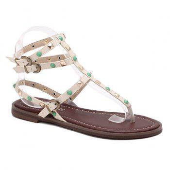 Rome Style Rivet and Flat Heel Design Women's Sandals