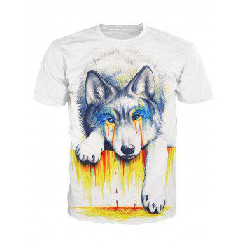 3D Crying Dog Print Round Neck Short Sleeve Stylish Men's T-Shirt - WHITE WHITE