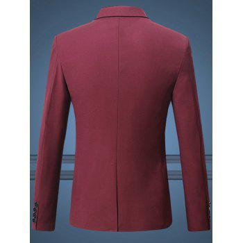 Men's Plus Size One Button Solid Color Lapel Long Sleeves Blazer - WINE RED 5XL