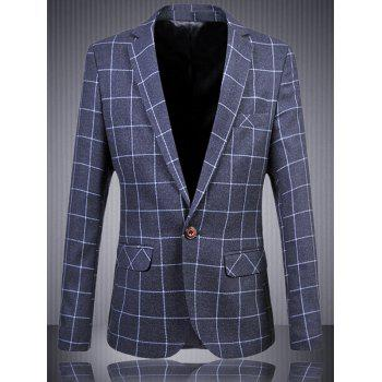 Men's Plus Size One Button Plaid Printed Lapel Long Sleeves Blazer