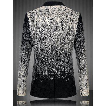Men's Plus Size One Button Abstract Printed Flap Pocket Long Sleeve Long Blazer - BLACK 6XL