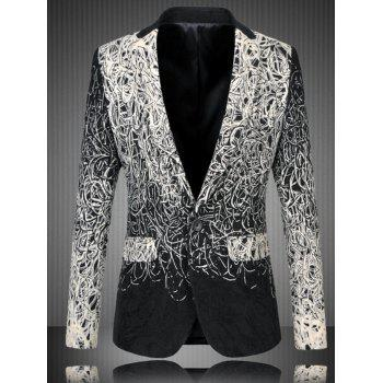 Men's Plus Size One Button Abstract Printed Flap Pocket Long Sleeve Long Blazer