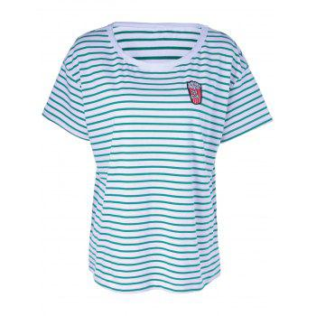 Contracted Stripe T For Women - WHITE AND GREEN M