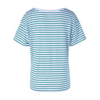 Contracted Stripe T For Women - WHITE/GREEN M