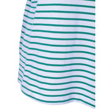 Contracted Stripe T For Women - WHITE/GREEN S