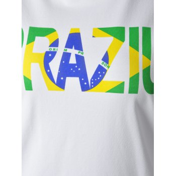 Casual Women's Round Neck Colorful Letter Print Short Sleeve T-Shirt - WHITE L