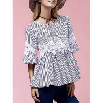 Stylish Women's Flare Sleeve Round Neck Lace Embellished Blouse