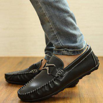 Stylish Metal and Stitching Design Men's Casual Shoes - BLACK 43