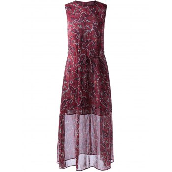 Retro Style Round Collar Sleeveless Dress With paisley Printing For Women