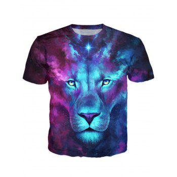 3D Color Block Lion Print Round Neck Short Sleeve Stylish Men's T-Shirt - COLORMIX COLORMIX