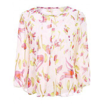 Stylish Long Sleeve Scoop Neck Floral Print Women's Blouse - OFF-WHITE OFF WHITE