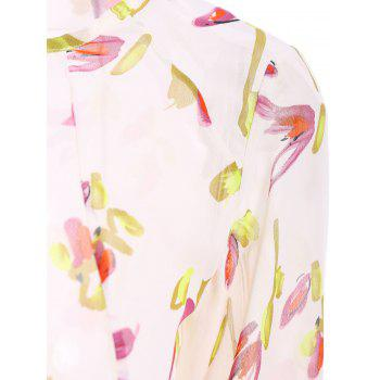 Stylish Long Sleeve Scoop Neck Floral Print Women's Blouse - OFF WHITE OFF WHITE