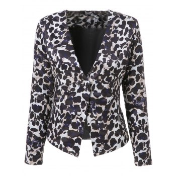 Stylish Leopard Printed V-Neck Long Sleeve Plus Size Blazer For Women