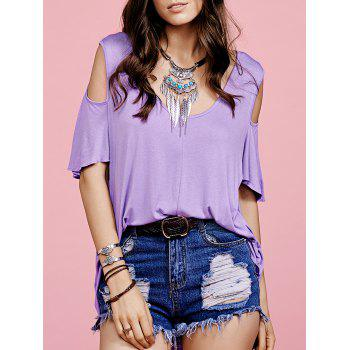 Stylish Scoop Neck Short Sleeve Purple Hollow Women's T-Shirt