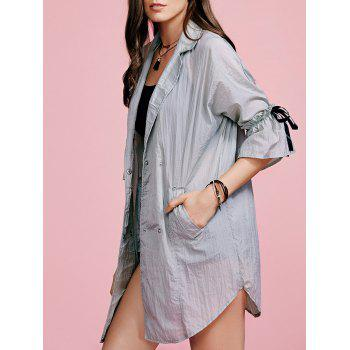 Stylish Lapel Ruffle Sleeve Women's Trench Coat