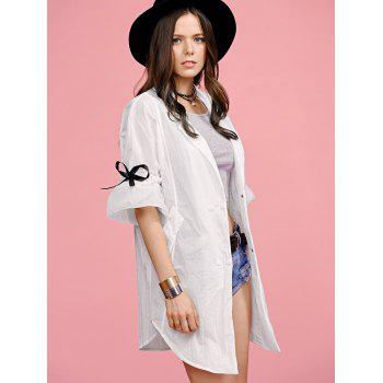 Stylish Lapel Ruffle Sleeve Women's Trench Coat - WHITE WHITE